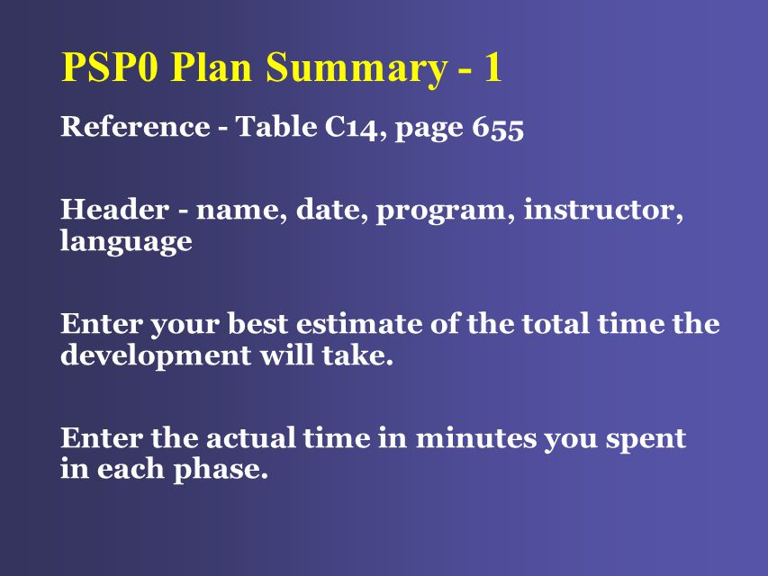 PSP0 Plan Summary - 1 Reference - Table C14, page 655 Header - name, date, program, instructor, language Enter your best estimate of the total time the development will take.