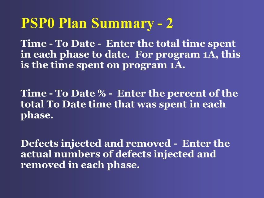 PSP0 Plan Summary - 2 Time - To Date - Enter the total time spent in each phase to date.