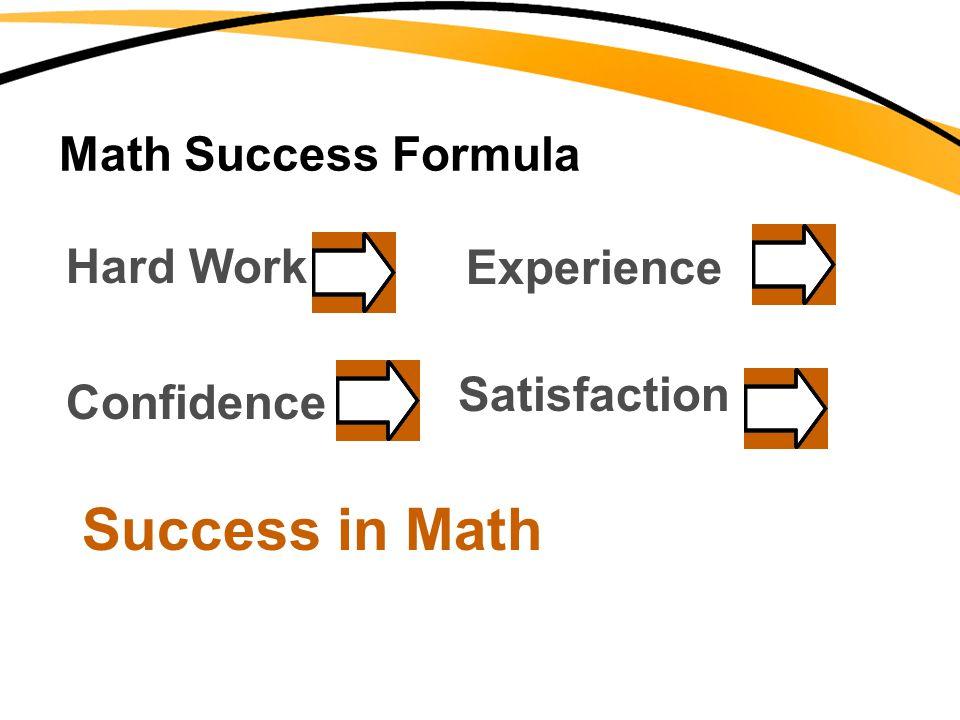 Math Success Formula Hard WorkExperience Confidence Satisfaction Success in Math