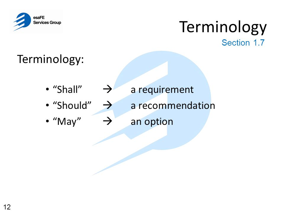 """Terminology Terminology: """"Shall""""  a requirement """"Should""""  a recommendation """"May""""  an option Section 1.7 12"""