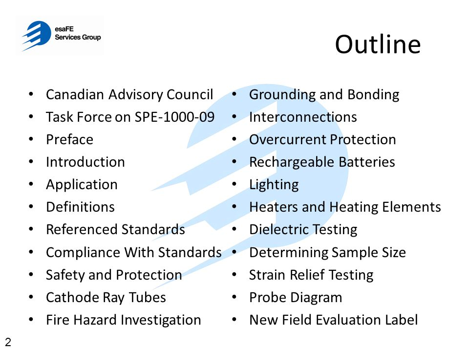 Outline Canadian Advisory Council Task Force on SPE-1000-09 Preface Introduction Application Definitions Referenced Standards Compliance With Standard