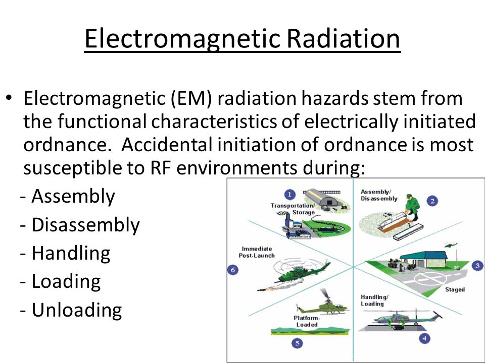Electromagnetic Radiation Electromagnetic (EM) radiation hazards stem from the functional characteristics of electrically initiated ordnance.