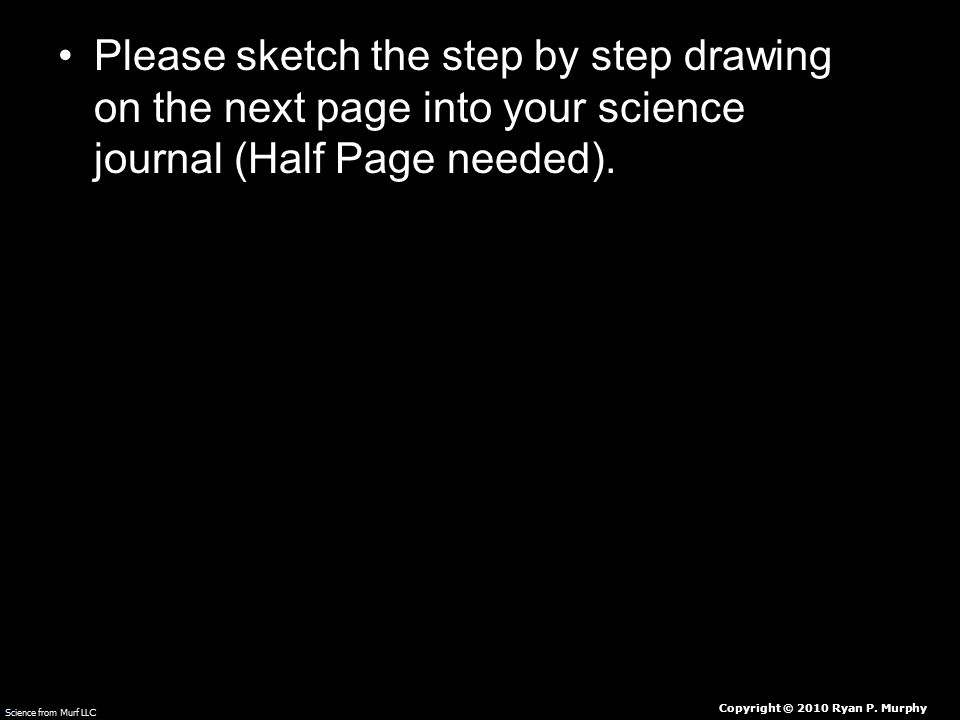 Please sketch the step by step drawing on the next page into your science journal (Half Page needed).