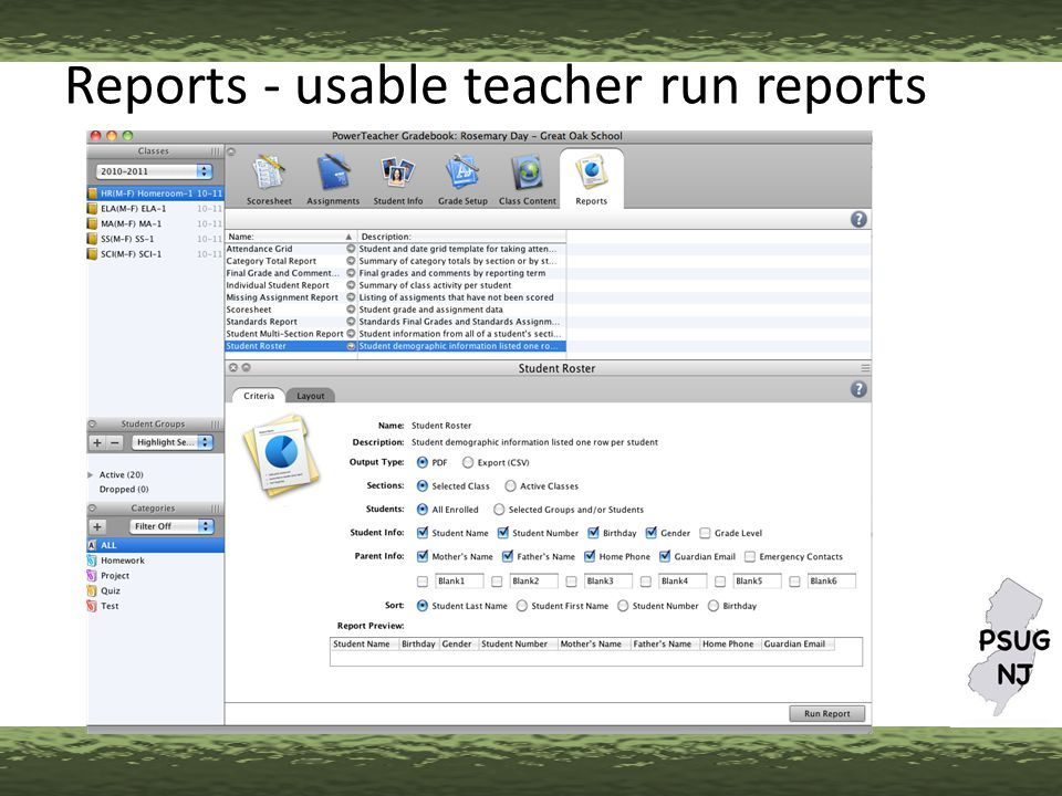 Reports - usable teacher run reports