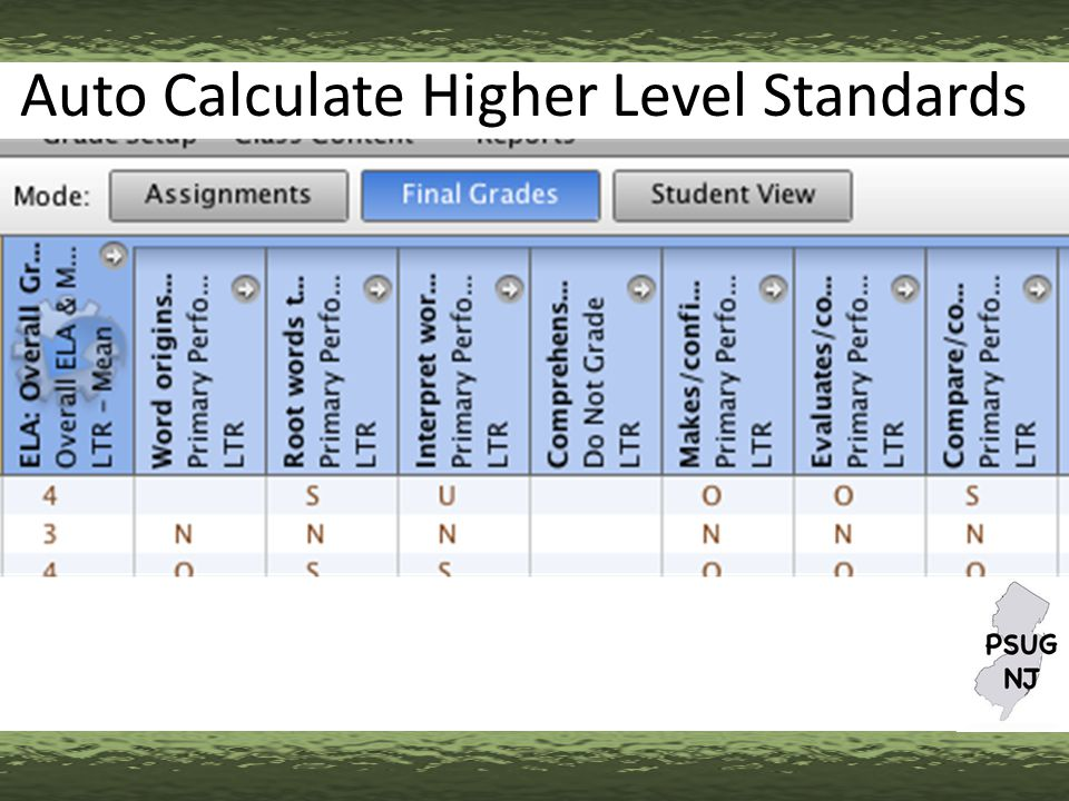 Auto Calculate Higher Level Standards
