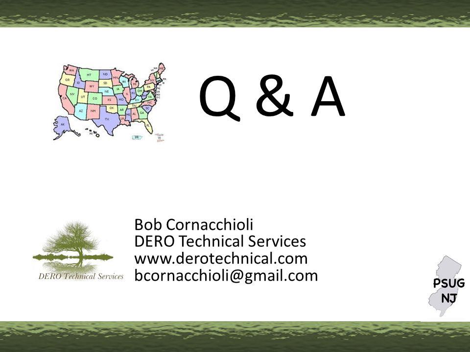 Bob Cornacchioli DERO Technical Services www.derotechnical.com bcornacchioli@gmail.com Q & A