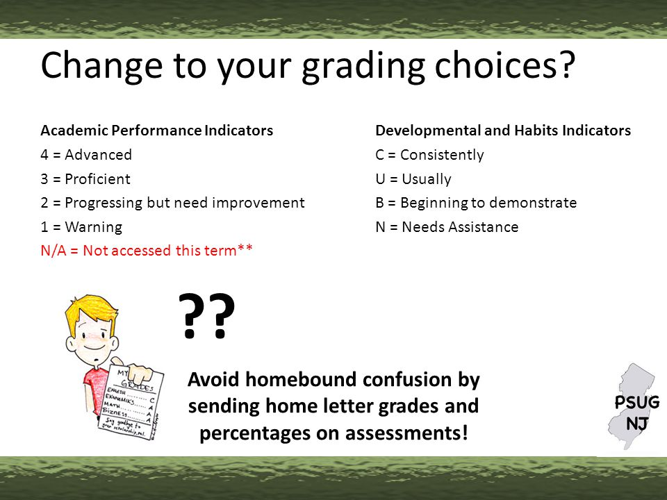 Change to your grading choices.