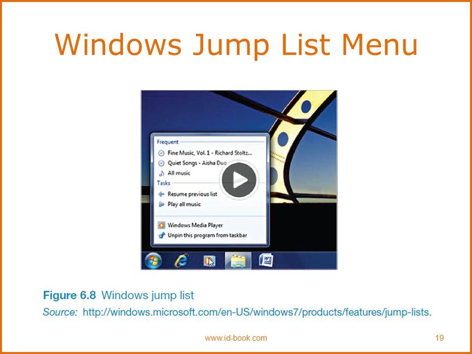 Windows Jump List Menu www.id-book.com19