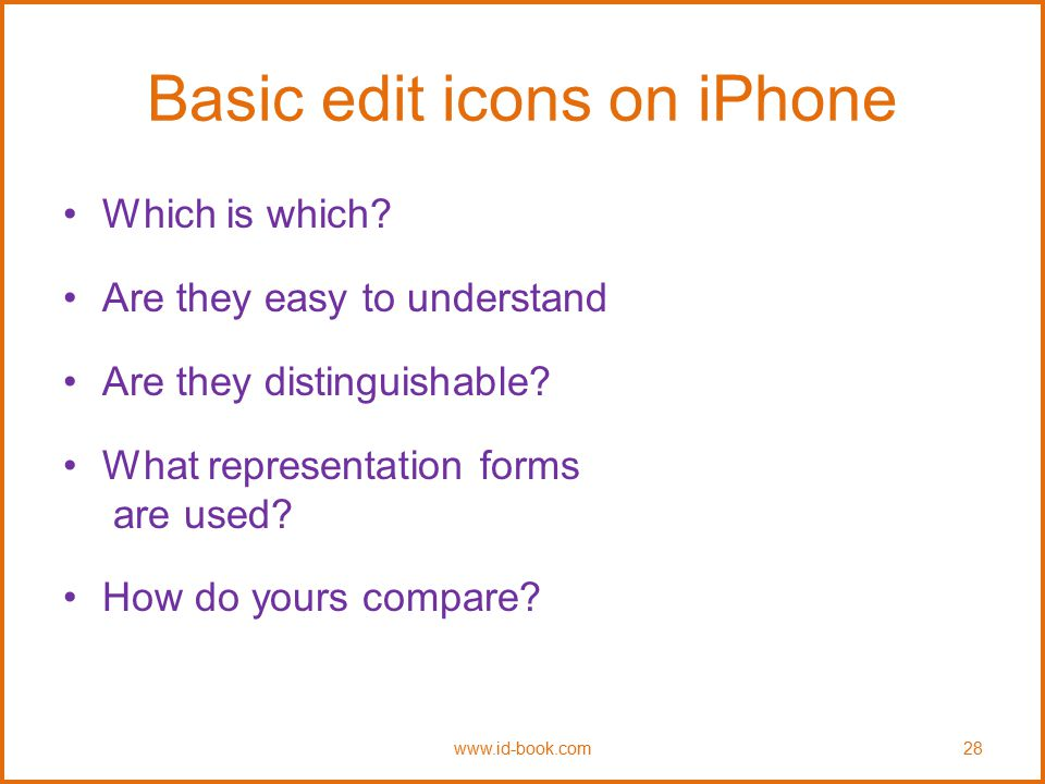 Basic edit icons on iPhone Which is which? Are they easy to understand Are they distinguishable? What representation forms are used? How do yours comp
