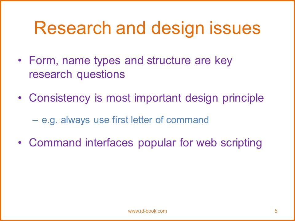 Research and design issues Need to consider how best to design, present, and structure information and system behavior But also content and navigation are central Veen's (2001) design principles (1)Where am I.