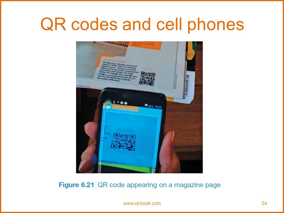 QR codes and cell phones www.id-book.com54