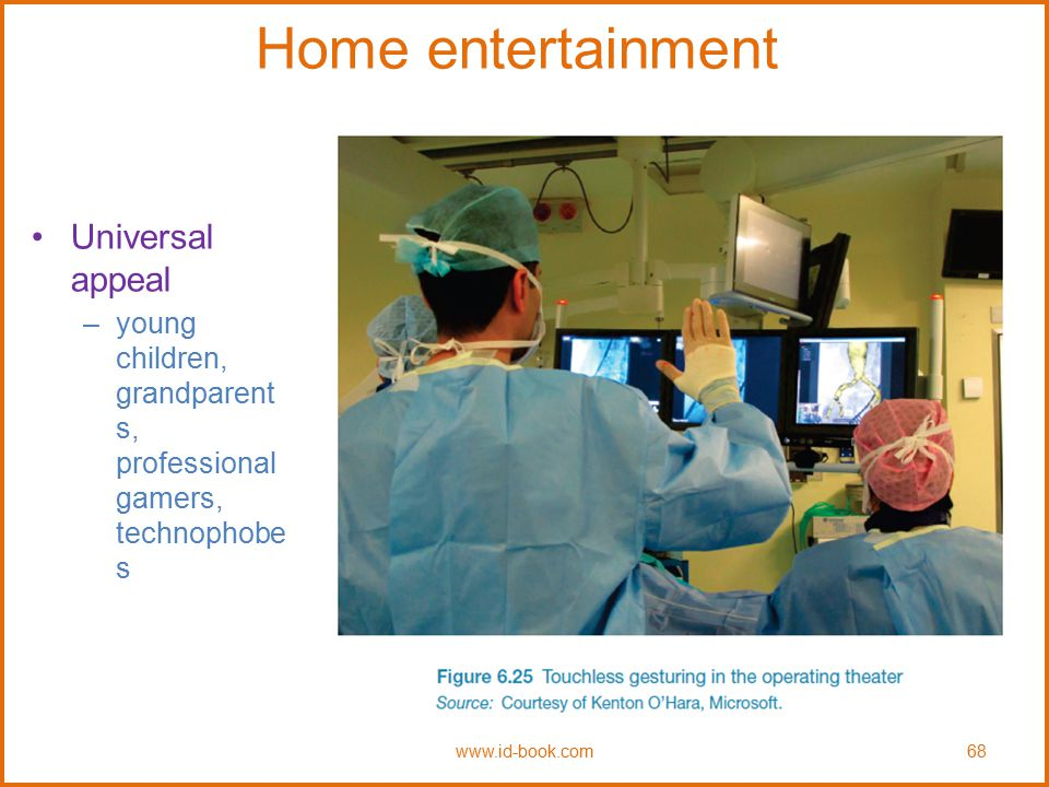 Home entertainment Universal appeal –young children, grandparent s, professional gamers, technophobe s www.id-book.com68