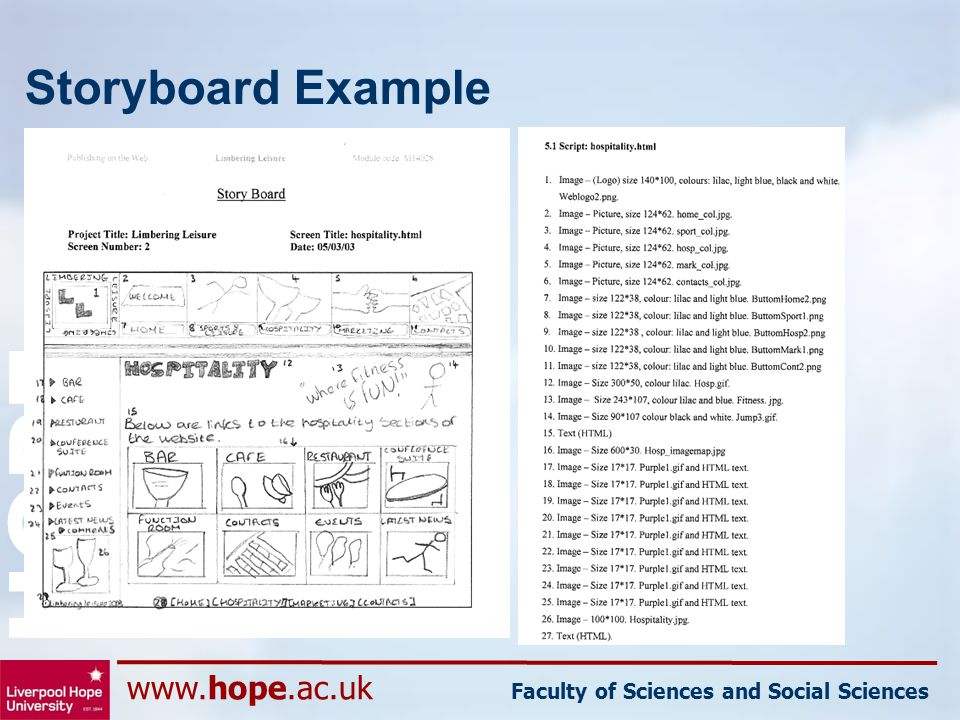 www.hope.ac.uk Faculty of Sciences and Social Sciences HOPE Storyboard Example