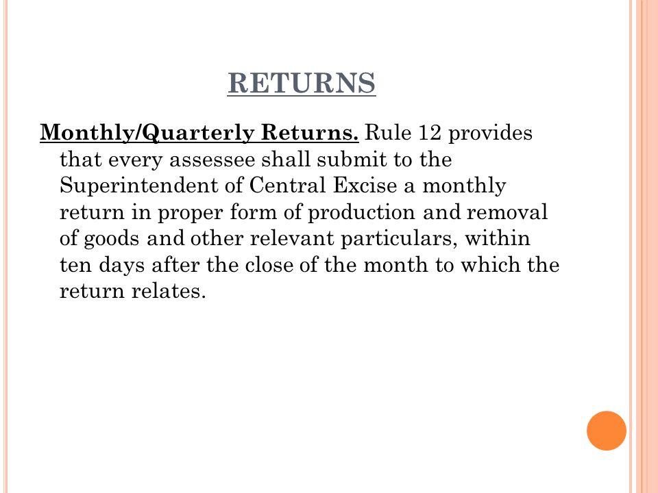 RETURNS Monthly/Quarterly Returns.