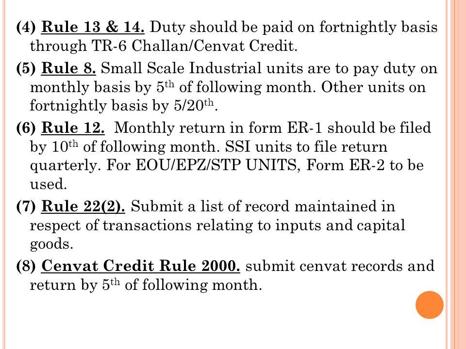 Notes: (i) The prescribed return form is ER-1 return.