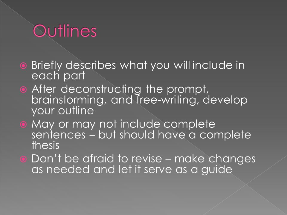  Briefly describes what you will include in each part  After deconstructing the prompt, brainstorming, and free-writing, develop your outline  May