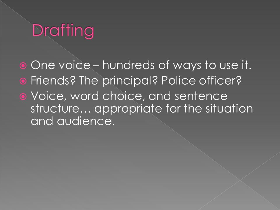  One voice – hundreds of ways to use it.  Friends? The principal? Police officer?  Voice, word choice, and sentence structure… appropriate for the