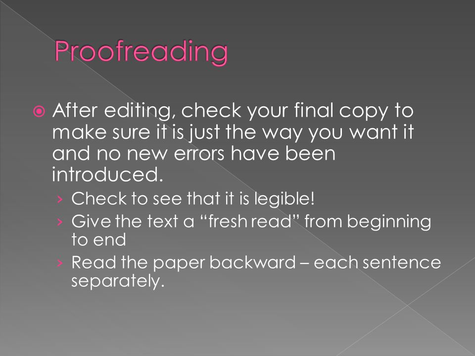  After editing, check your final copy to make sure it is just the way you want it and no new errors have been introduced. › Check to see that it is l