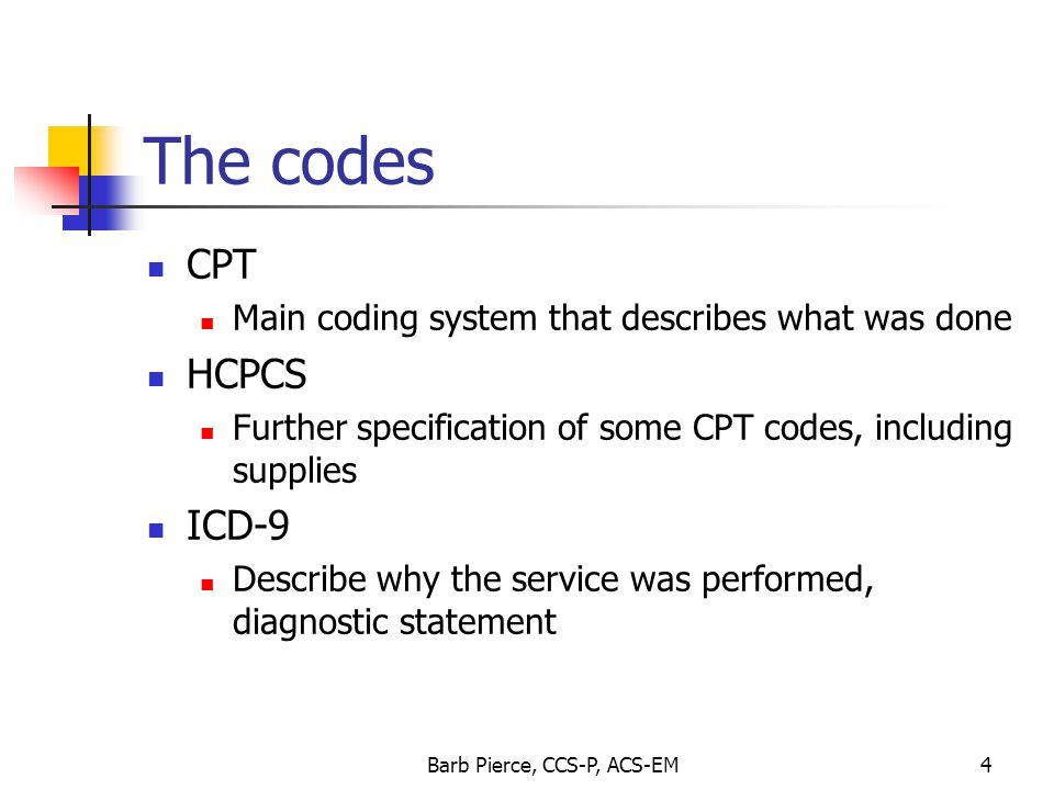Barb Pierce, CCS-P, ACS-EM5 Billing the codes The what and the why need to be linked and must meet medical necessity The encounter form (superbill) needs match the information in the medical record