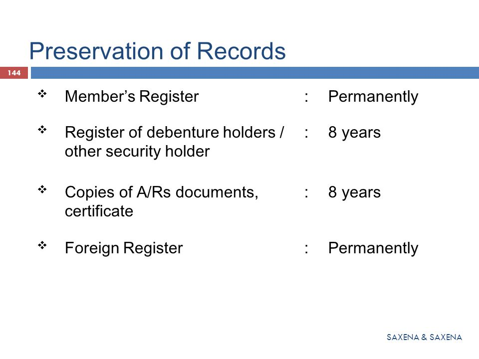 Preservation of Records  Member's Register:Permanently  Register of debenture holders / other security holder :8 years  Copies of A/Rs documents, c
