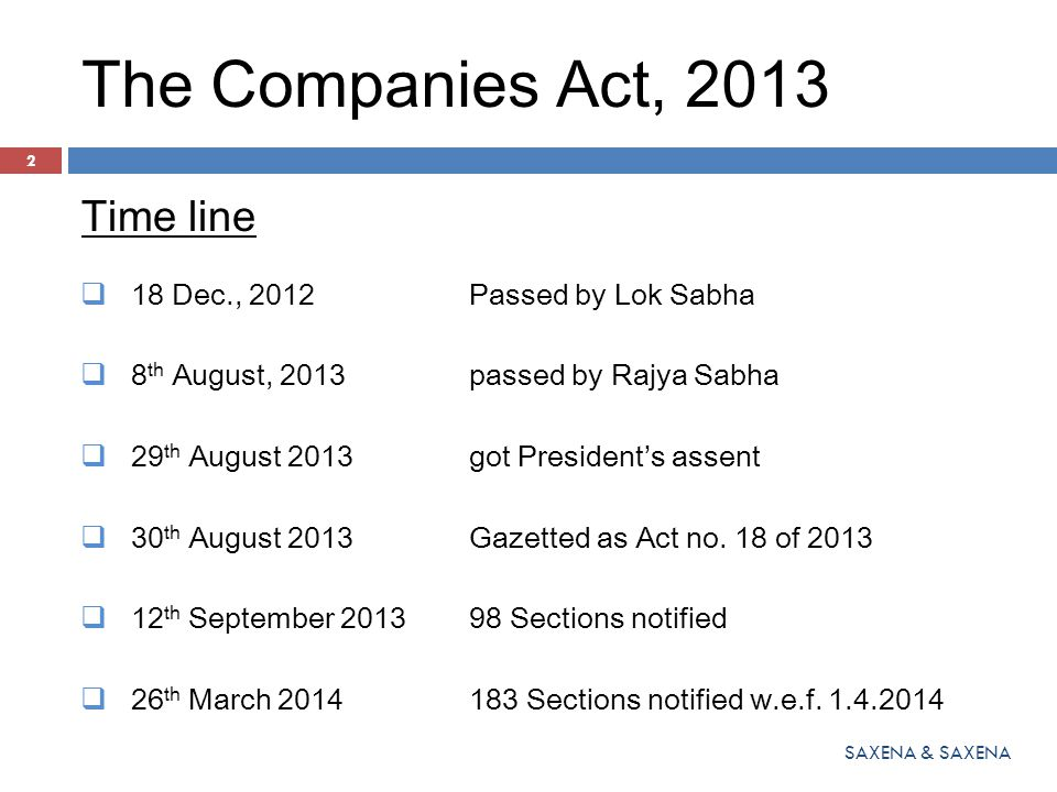 The Companies Act, 2013 Time line  18 Dec., 2012Passed by Lok Sabha  8 th August, 2013passed by Rajya Sabha  29 th August 2013got President's assen