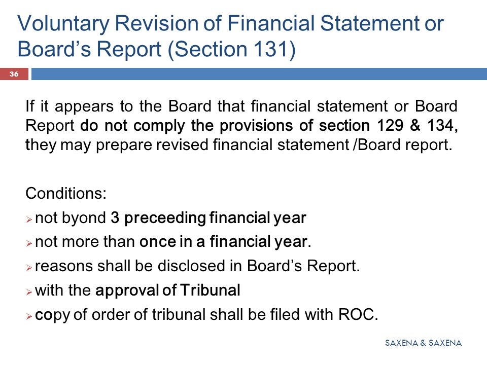 Voluntary Revision of Financial Statement or Board's Report (Section 131) If it appears to the Board that financial statement or Board Report do not c