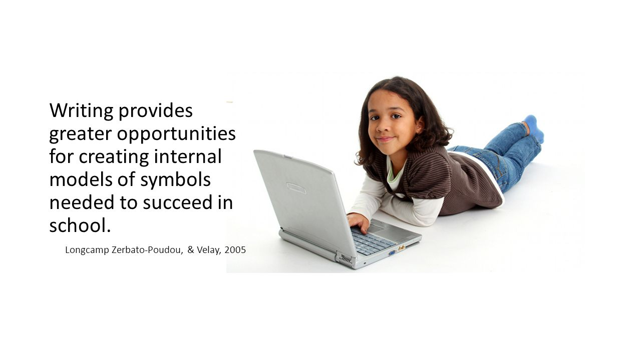 Writing provides greater opportunities for creating internal models of symbols needed to succeed in school.