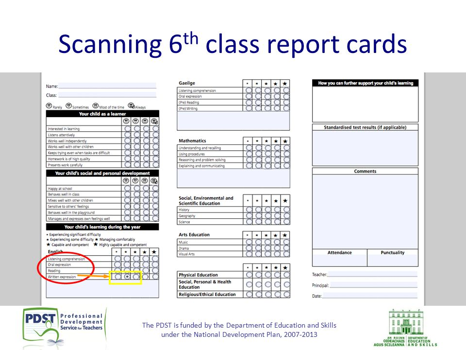 The PDST is funded by the Department of Education and Skills under the National Development Plan, 2007-2013 Scanning 6 th class report cards Screen sh