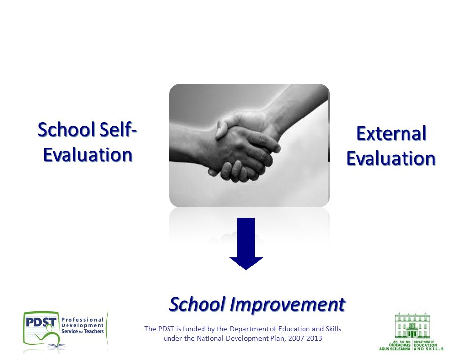 The PDST is funded by the Department of Education and Skills under the National Development Plan, 2007-2013 School Self- Evaluation External Evaluatio