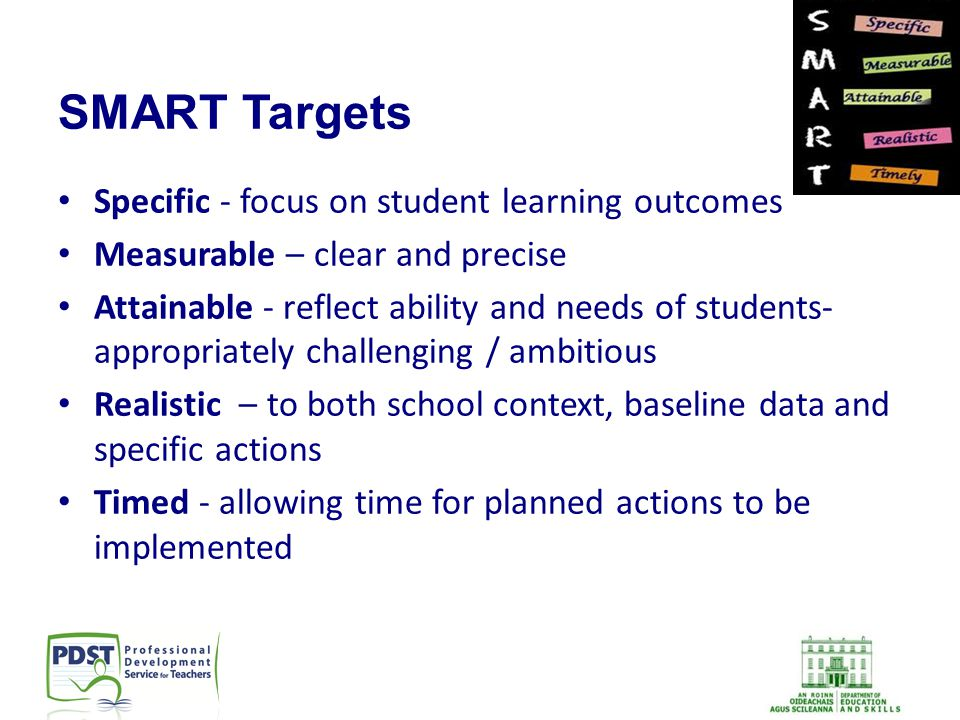 SMART Targets Specific - focus on student learning outcomes Measurable – clear and precise Attainable - reflect ability and needs of students- appropr