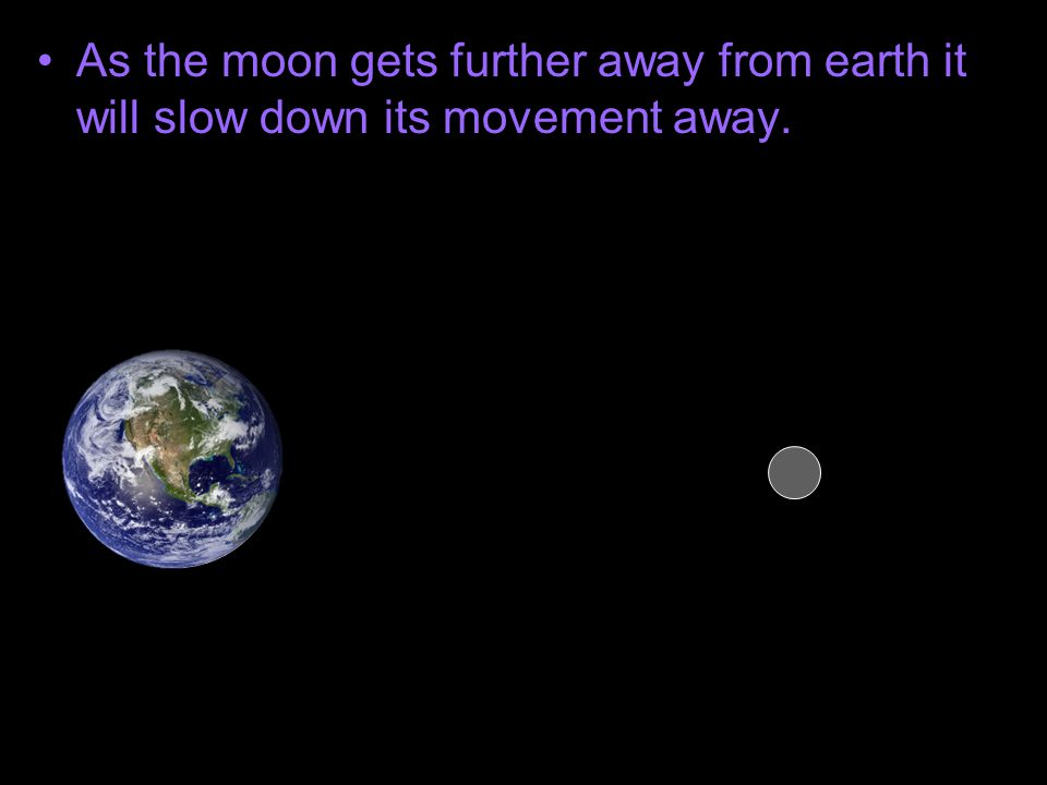 As the moon gets further away from earth it will slow down its movement away.