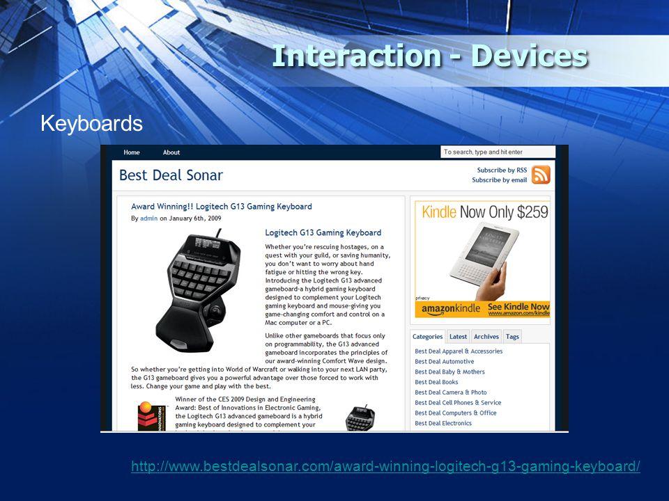 Interaction - Devices Keyboards http://www.bestdealsonar.com/award-winning-logitech-g13-gaming-keyboard/