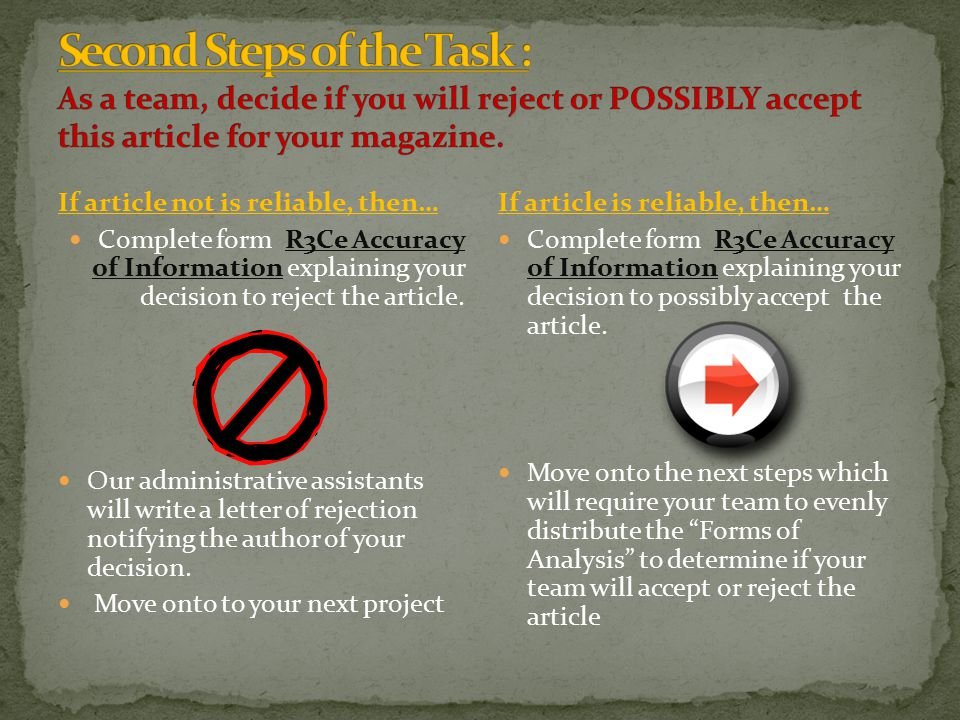 If article not is reliable, then… Complete form R3Ce Accuracy of Information explaining your decision to reject the article.