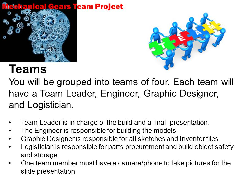 Teams You will be grouped into teams of four.