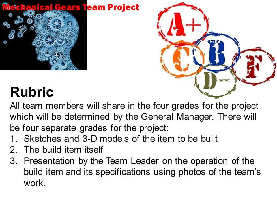 Mechanical Gears Team Project Rubric All team members will share in the four grades for the project which will be determined by the General Manager.