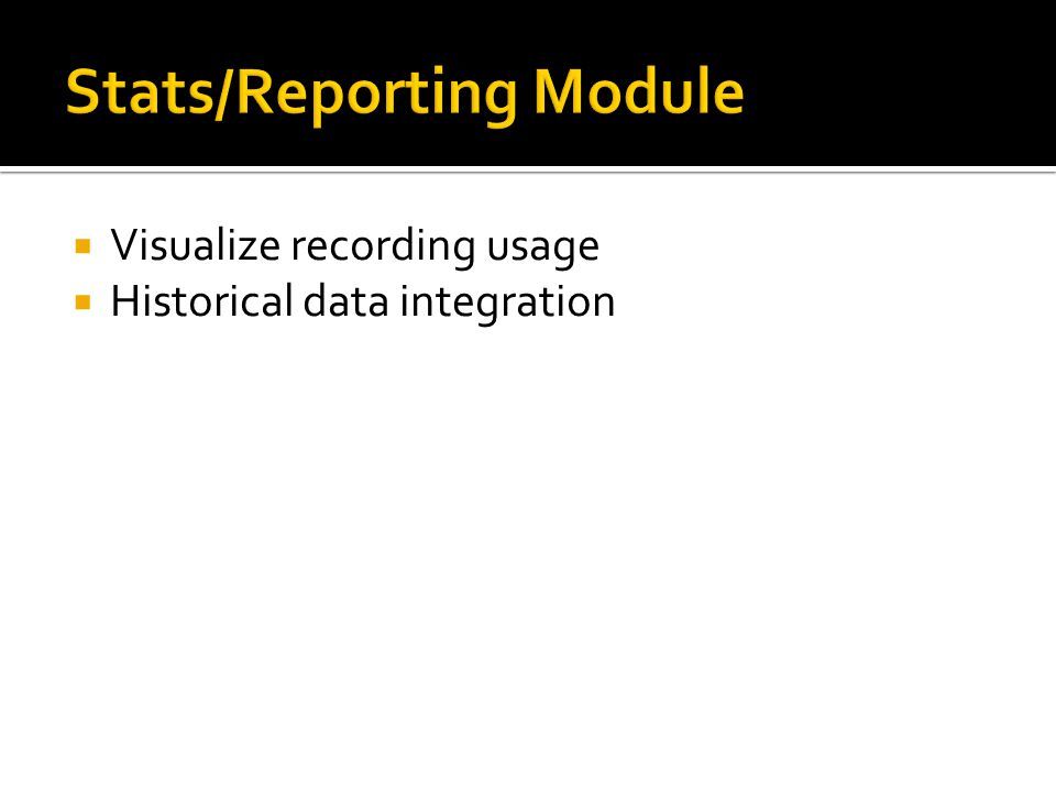  Visualize recording usage  Historical data integration