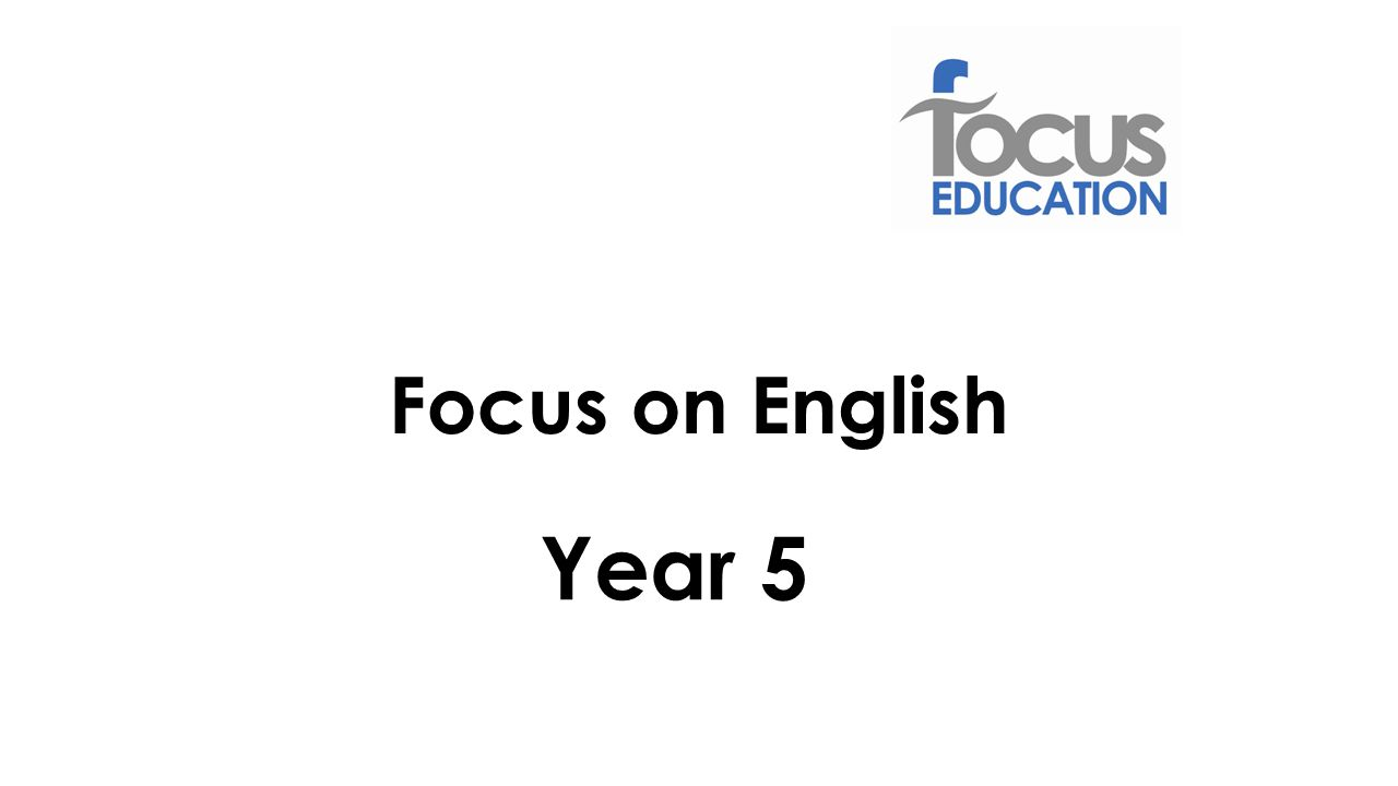 Year 5 Focus on English