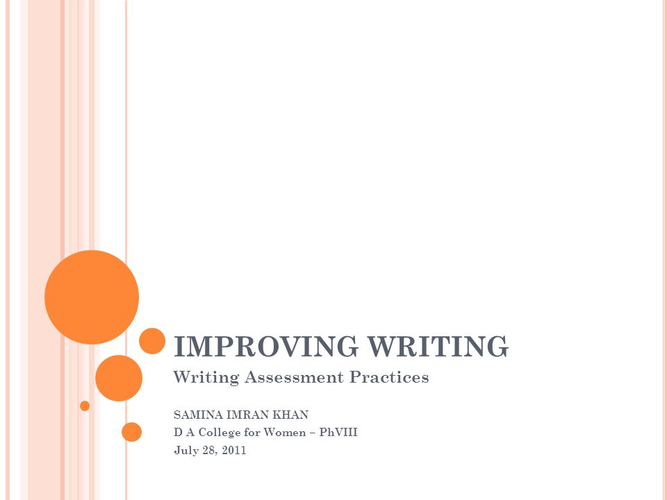 IMPROVING WRITING Writing Assessment Practices SAMINA IMRAN KHAN D A College for Women – PhVIII July 28, 2011
