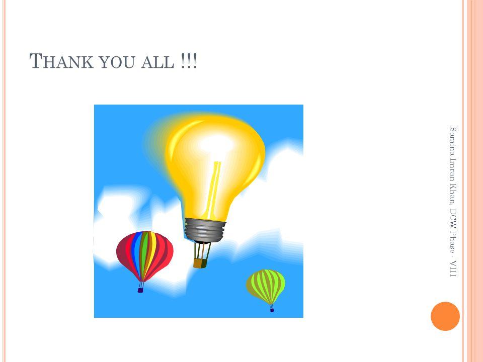 T HANK YOU ALL !!! Samina Imran Khan, DCW Phase - VIII