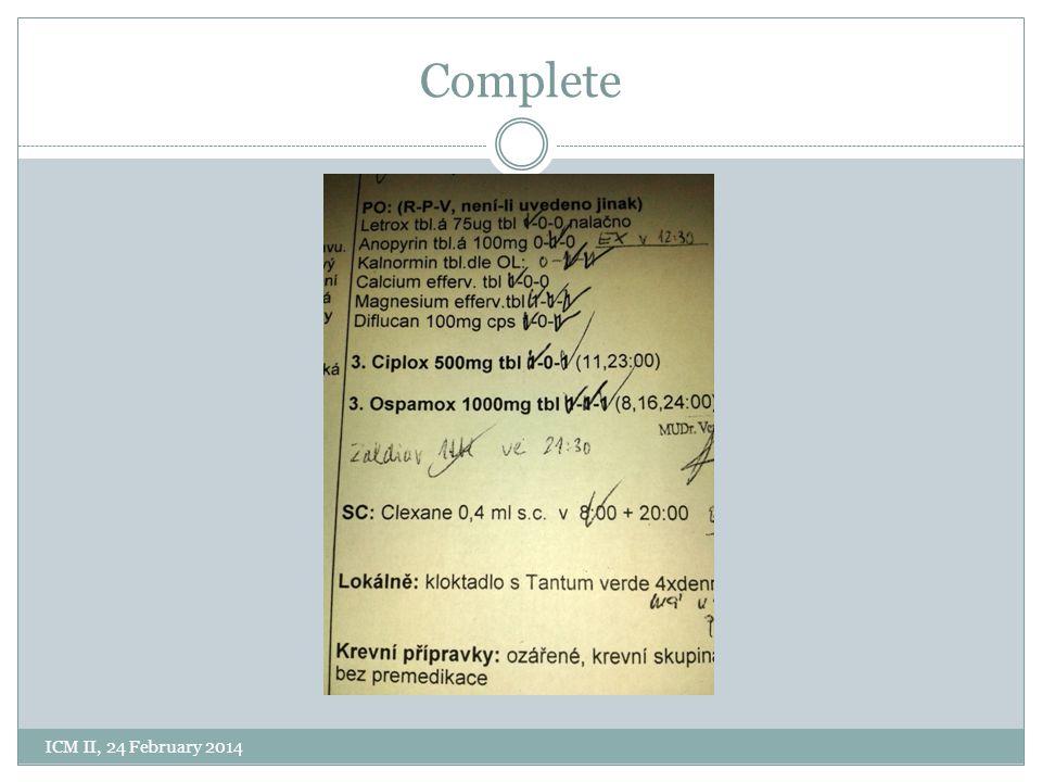 Complete ICM II, 24 February 2014