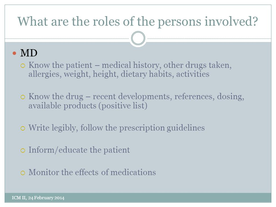 What are the roles of the persons involved.