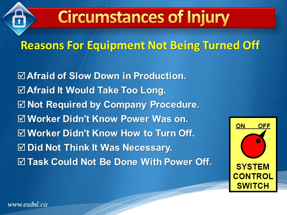 www.esdnl.ca  Accidentally Turned on by Injured Employee  Co-Worker Accidentally Turned Equipment On  Equipment Moved When Jam-up Cleared  Equipment Unexpectedly Cycled  Parts Still in Motion (Coasting) ON OFF SYSTEM CONTROL SWITCH Reasons For Equipment Being Turned On
