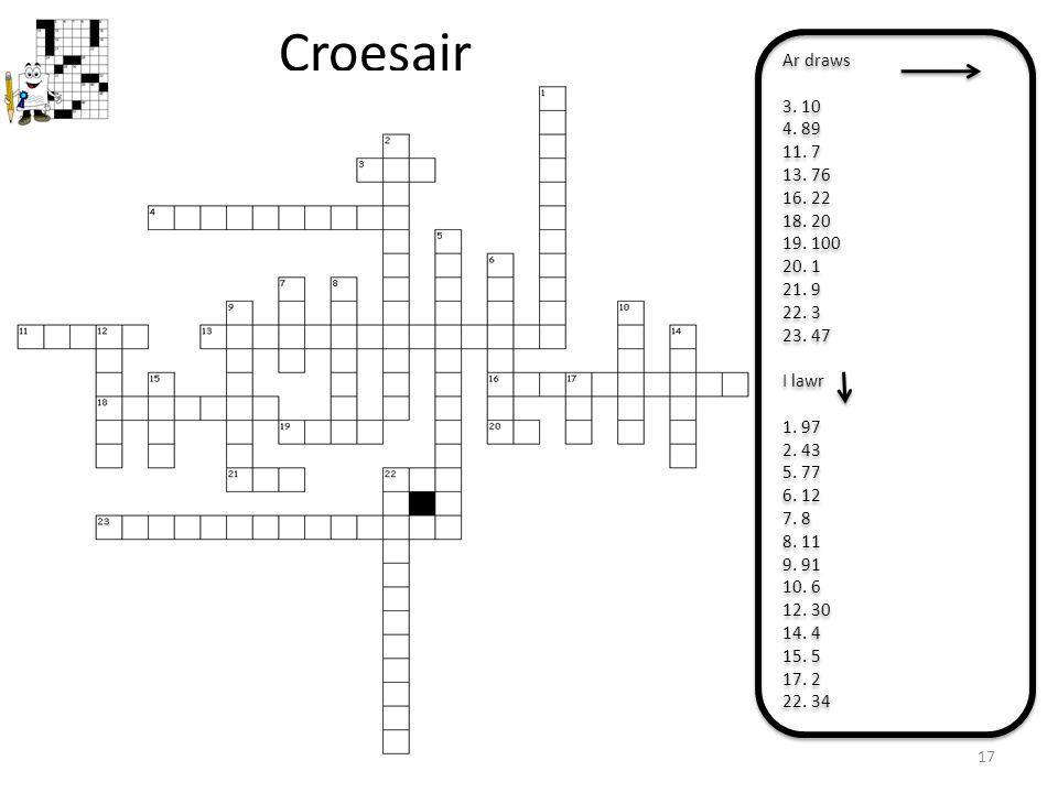 Croesair 17 Ar draws 3. 10 4. 89 11. 7 13. 76 16. 22 18. 20 19. 100 20. 1 21. 9 22. 3 23. 47 I lawr 1. 97 2. 43 5. 77 6. 12 7. 8 8. 11 9. 91 10. 6 12.