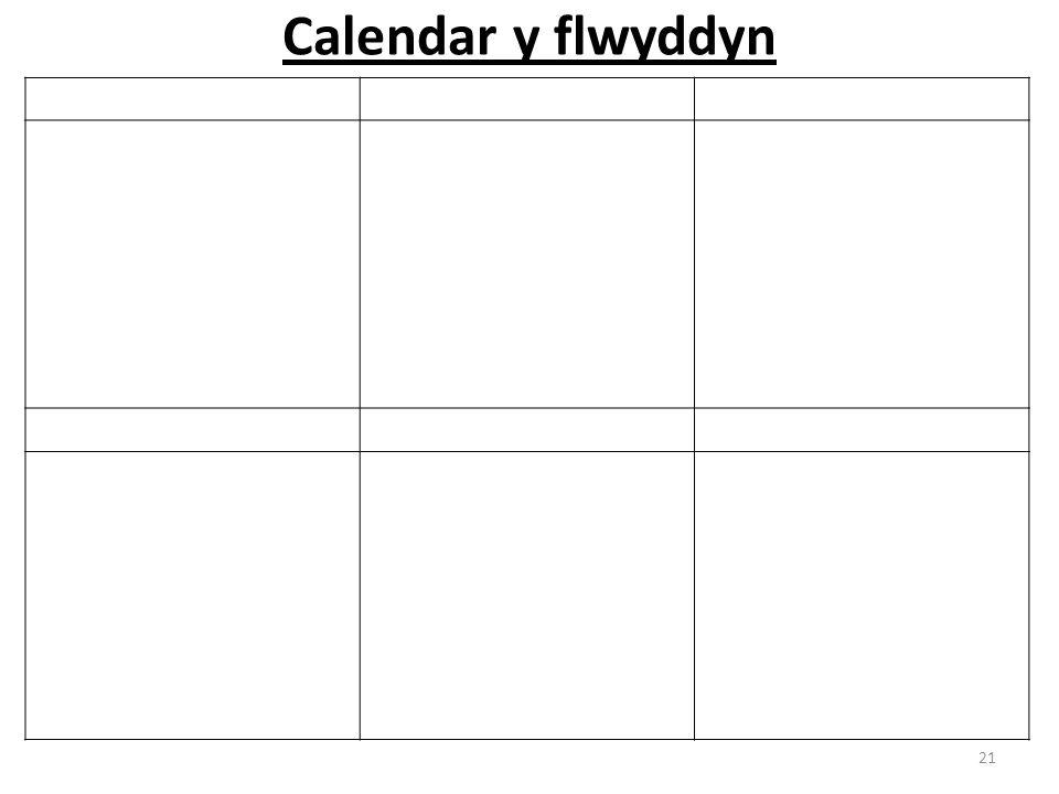 Calendar y flwyddyn 21