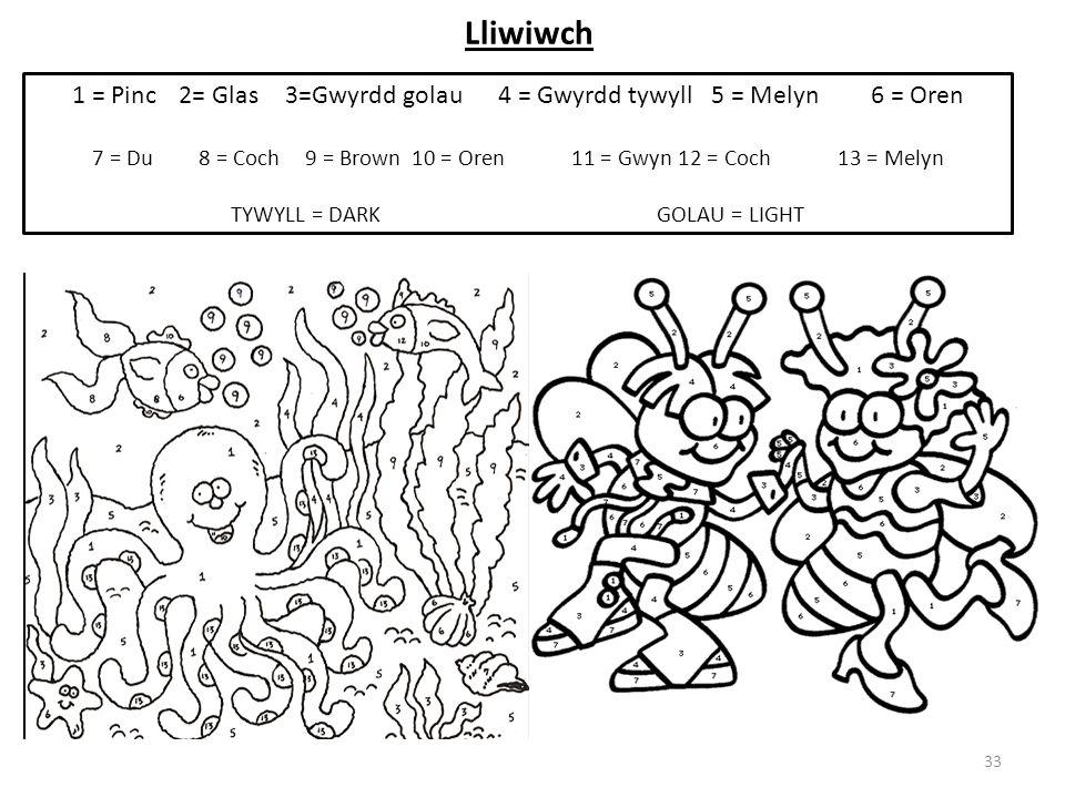 Lliwiwch 33 1 = Pinc 2= Glas3=Gwyrdd golau4 = Gwyrdd tywyll5 = Melyn6 = Oren 7 = Du8 = Coch 9 = Brown10 = Oren11 = Gwyn12 = Coch13 = Melyn TYWYLL = DA