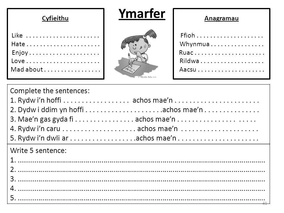 Ymarfer 41 Complete the sentences: 1. Rydw i'n hoffi.................. achos mae'n....................... 2. Dydw i ddim yn hoffi.....................