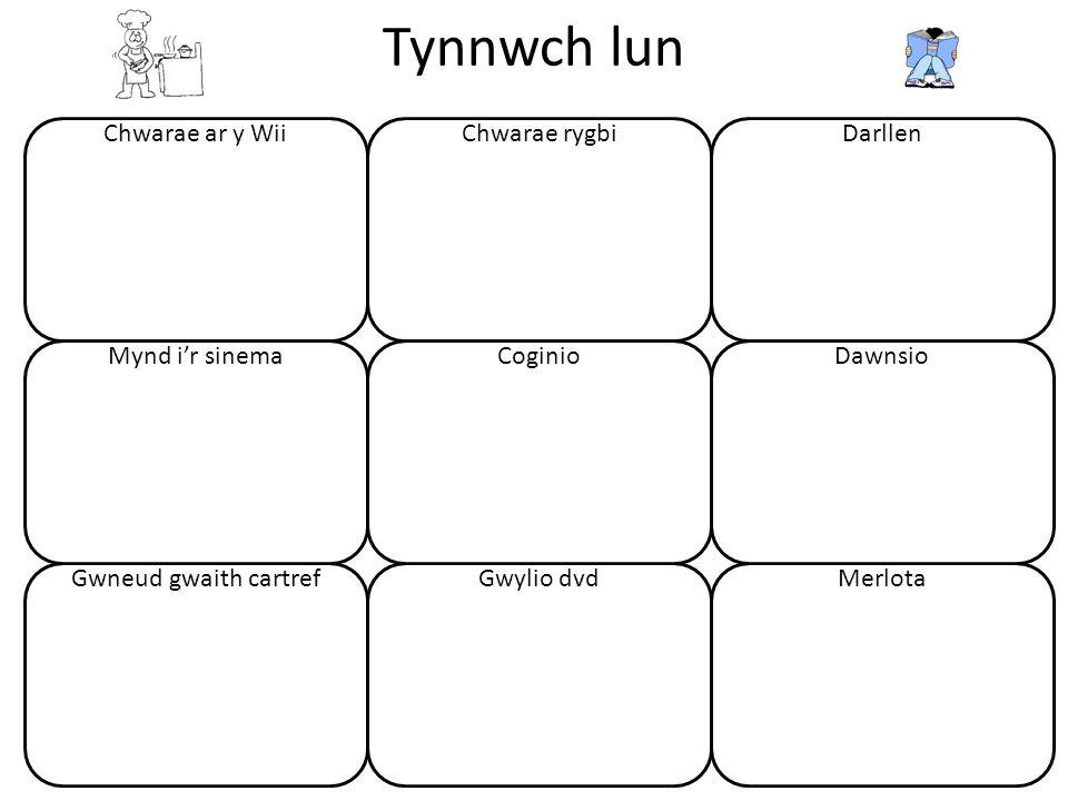 Tynnwch lun 48 Chwarae ar y Wii Gwneud gwaith cartref Mynd i'r sinema Chwarae rygbi Gwylio dvd Coginio Darllen Merlota Dawnsio