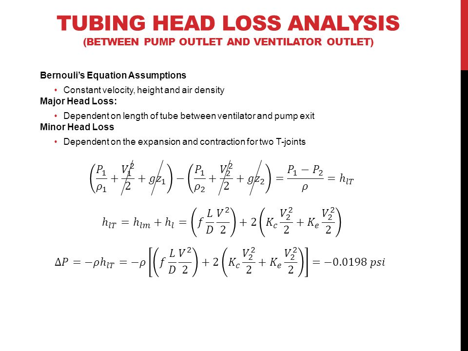 TUBING HEAD LOSS ANALYSIS (BETWEEN PUMP OUTLET AND VENTILATOR OUTLET) Bernouli's Equation Assumptions Constant velocity, height and air density Major Head Loss: Dependent on length of tube between ventilator and pump exit Minor Head Loss Dependent on the expansion and contraction for two T-joints
