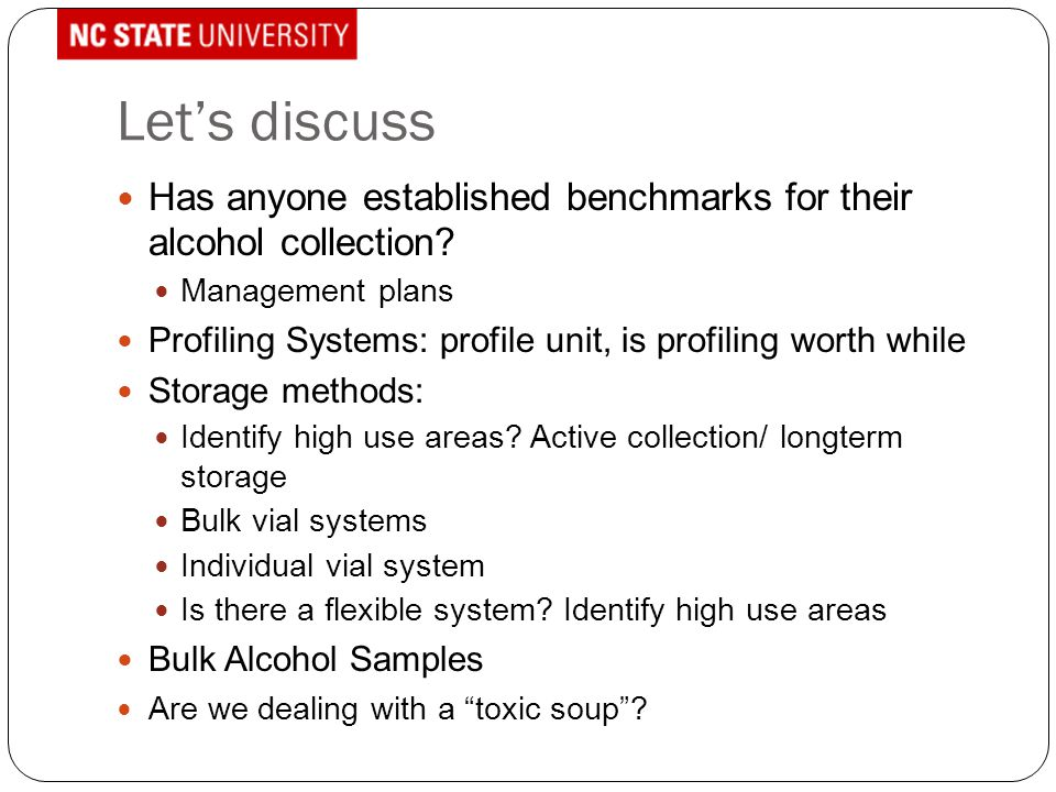 Let's discuss Has anyone established benchmarks for their alcohol collection? Management plans Profiling Systems: profile unit, is profiling worth whi