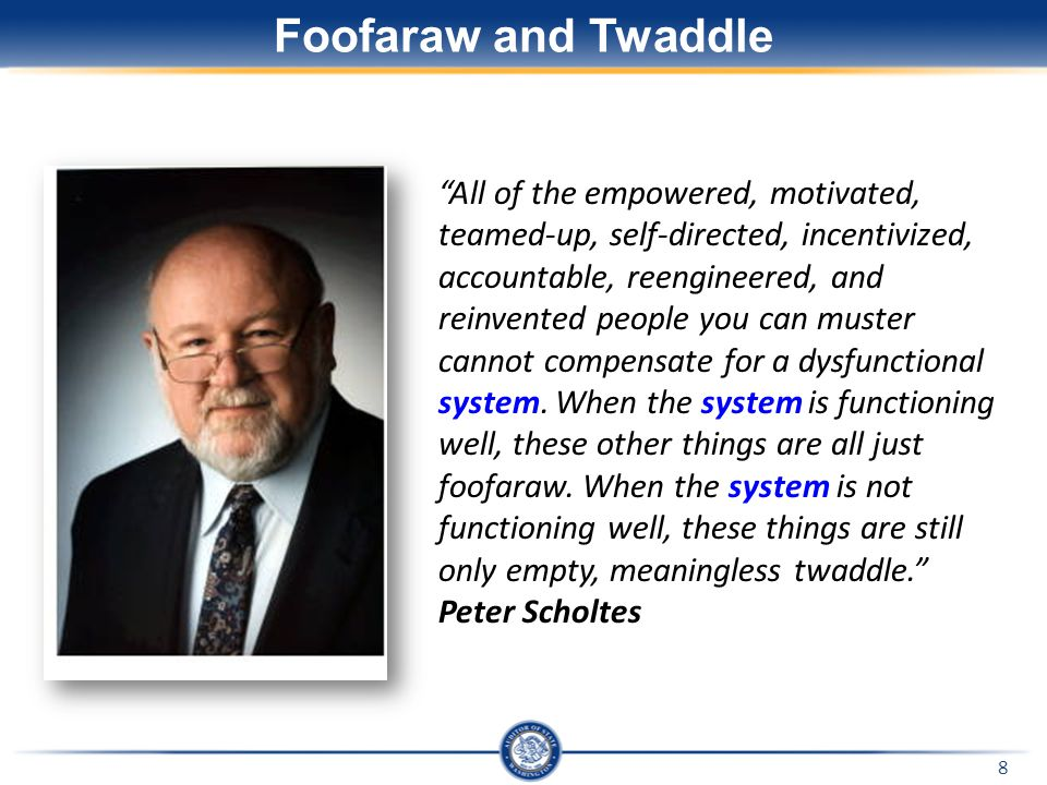 "Foofaraw and Twaddle ""All of the empowered, motivated, teamed-up, self-directed, incentivized, accountable, reengineered, and reinvented people you ca"